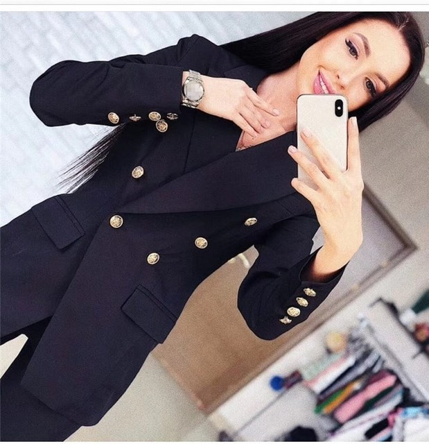 2019 Ol Pant Suits Notched Double-Breasted Blazer Top Pants 2 Piece Outfits For Women Feminine Blazer Set
