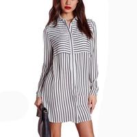 Vintage Women Blouses Long Sleeve Strip Chiffon Shirt Plus Size Loose Work Wear Basic Shirt Women