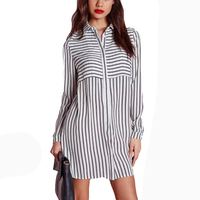 Vintage Women Blouses Long Sleeve Strip Chiffon Shirt Plus Size Loose Work Wear Basic Shirt Women