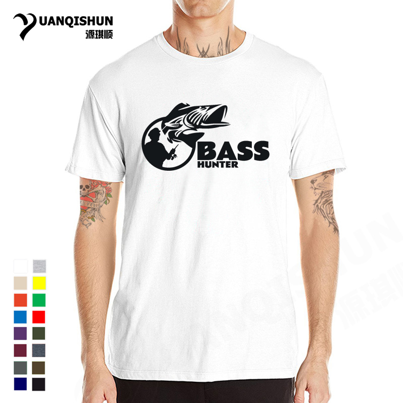 2018 New Bass Hunter Fishings Tshirt Men Funny Fish T-shirt High Quality Cotton Short sl ...