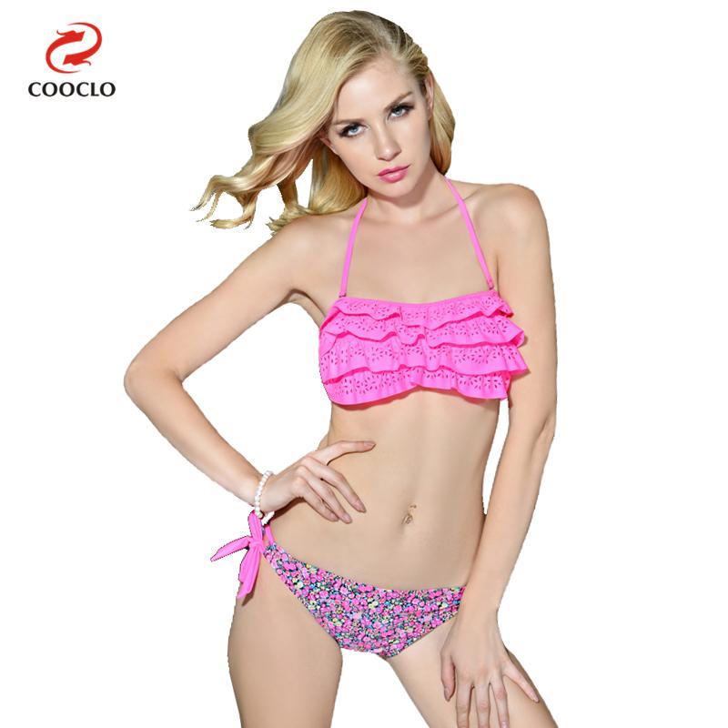 Prix pour Vente chaude couches bikini imprimé floral mignon fille sexy bikini femmes maillots de bain motif sexy maillots de bain