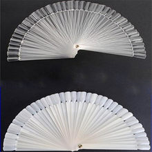 50pcs Artificial Sector Nail Art Tips Board Stick Polish Display Fan Stand Wheel(China)