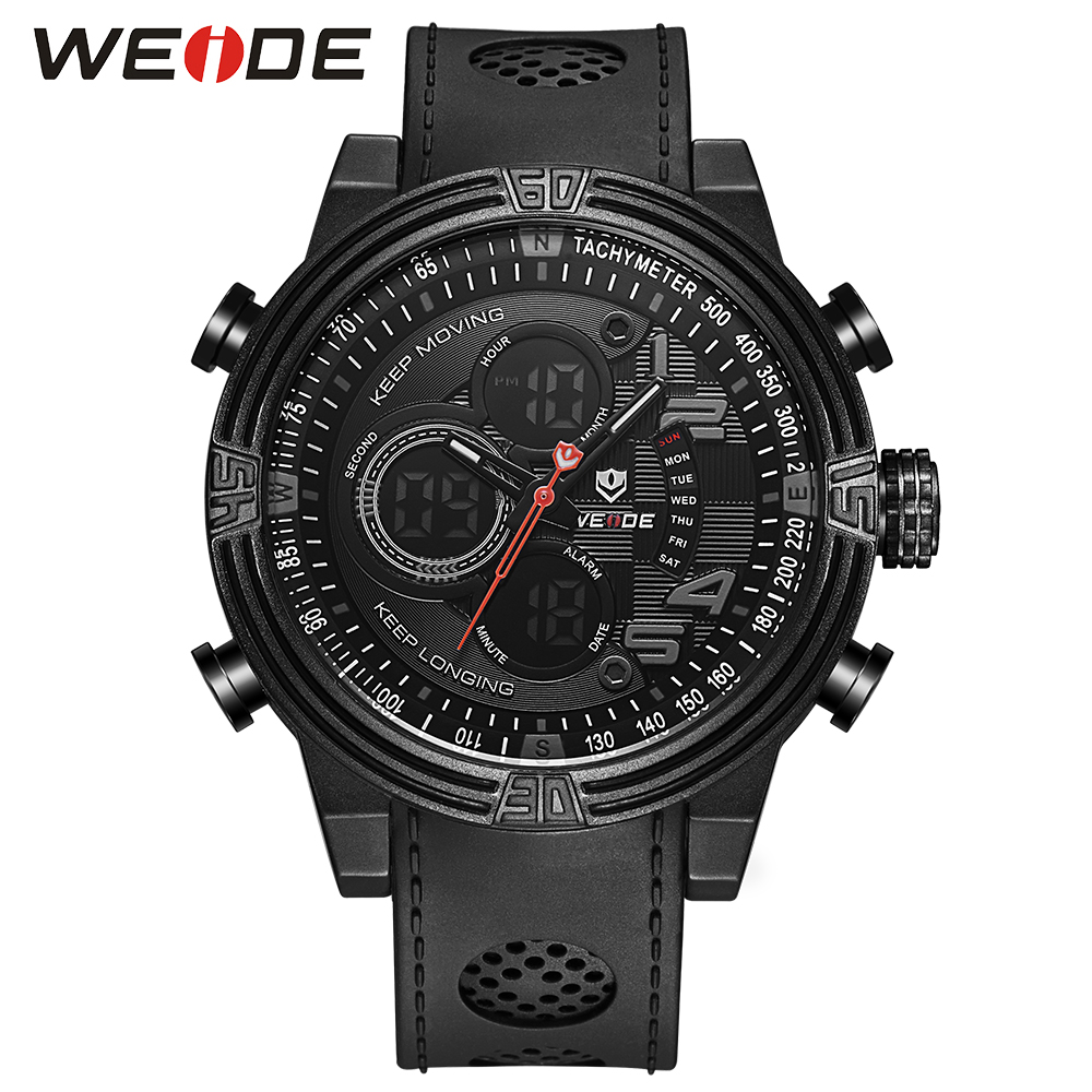 WEIDE Men Black Running Outdoor Date Day Repeater Back Light Stopwatch Sports Quartz Watch Alarm Clock Strap Military Wristwatch weide 2017 new men quartz casual watch army military sports watch waterproof back light alarm men watches alarm clock berloques