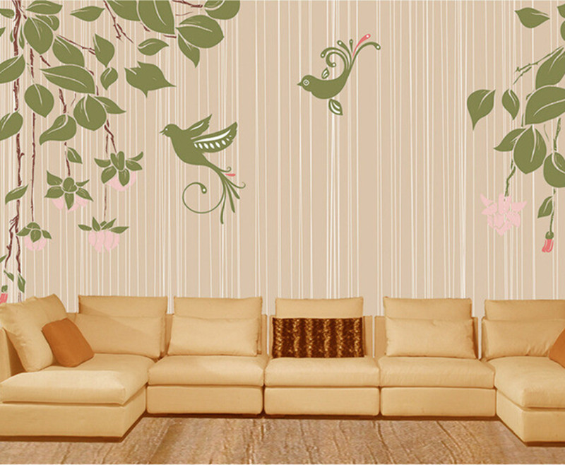 Custom 3D elegant hand painted flowers and birds modern simple papel de parede,living room sofa TV wall bedroom murals wallpaper custom papel de parede floral black and white illustrated flowers for living room tv wall vinyl papel de parede