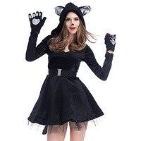 Adult Ladies Sexy Black Cat Set Fancy Dress Costume Accessory CosPlay Dress P1713