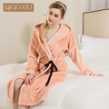 Chegada nova qianxiu marca manto coral fleece pijama de flanela inverno roupão de banho para as mulheres de três cores 16122