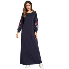 185763 Muslim Women Middle East Ruffles Round Neck Embroidery Patchwork Long Sleeve Fashion Dresses Abaya