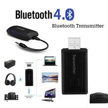 Transmissor sem fio Bluetooth Adaptador Receptor de Áudio Estéreo Música Adaptador USB Com Plugue de 3.5mm Cabo de Áudio