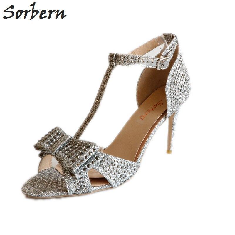 b64ea8a10e5 Sorbern Silver Grey Crystal Women Sandals T-Strap Summer Shoes High Heels  Open Toe Ankle Strap Shoes Designer Sandals Size 15