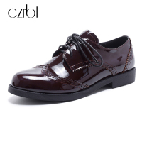 CZEBT Spring Autumn Lace Up Flat Shoes Women Classic Solid Color Round Toe Oxfords Shoes High