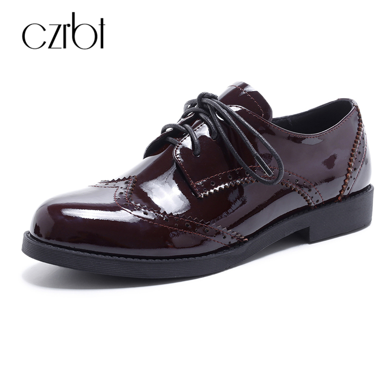 CZEBT Spring Autumn Lace-Up Flat Shoes Women Classic Solid Color Round Toe Oxfords Shoes High Quality Patent Leather Women S fit 12486