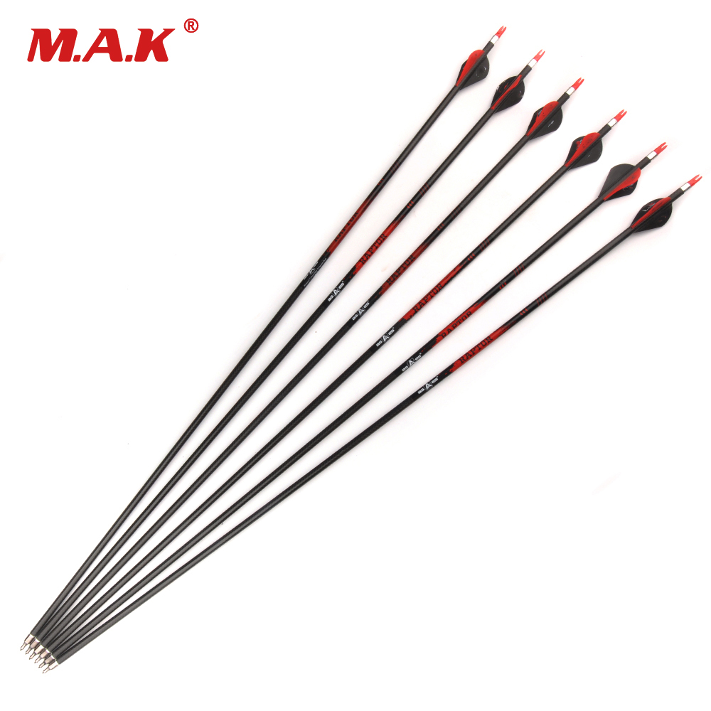 6/12/24 pcs Pure Carbon Arrow Length 32 Inches Spine 400 Diameter 7.8mm Replaceable Arrowhead for Compound Bow Archery Hunting 20 pcs pure carbon arrow shaft spine 340 20 pcs insert