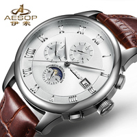 AESOP Man Automatic Mechanical Watch Men Luxury Wrist Moon phase Wristwatch Genuine Leather Male Clock Relogio Masculino Hodinky|Mechanical Watches|Watches -