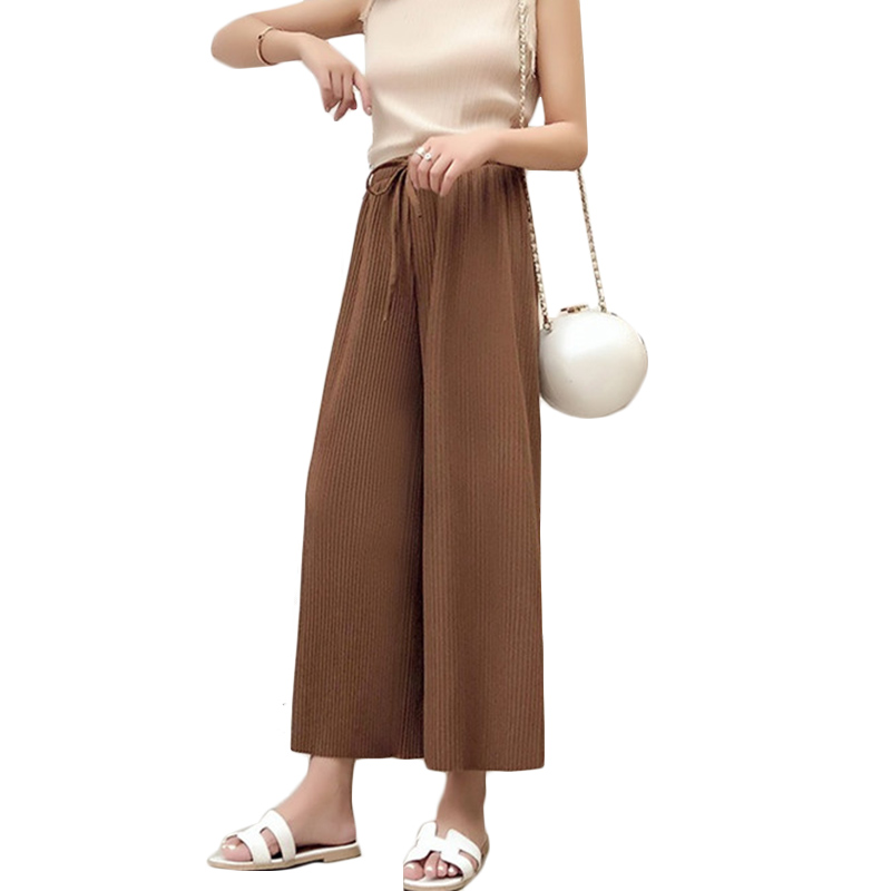 2019 Spring Autumn New Drape Chiffon Pleated wide leg   Pants   Womens Summer High waist Casual Fall feeling nine   Pants     Capris   F286