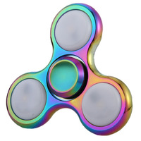 Rainbow LED Light Fidget Spinner Finger Metal EDC Hand Spinner For Autism And ADHD Relief Focus