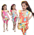 4-56789-10-11-12 New 2016 Summer children clothes,girls clothing sets cotton t-shirt+half pants 2 pieces baby casual sport suits