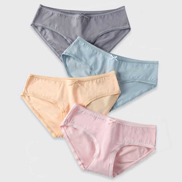 65a60122def2 LANGSHA 4Pcs/lot Women's Cotton Panties Sexy Briefs Soft Women Seamless  Underwear for Girls Solid Cute Bow Lingerie Ladies Panty