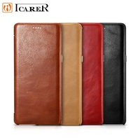 ICARER Slim Vintage Curved Edge Genuine Natural Cowhide Skin Leather Retro Mobile Phone Flip Case Cover For Samsung Galaxy Note8