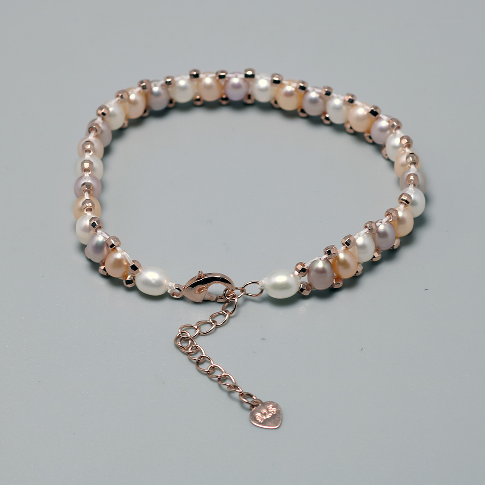 3 Color Mixed Small Baroque Pearls Bracelets For Women Natural Freshwater 925 Sterling Silver Rose Gold Plated Accessories