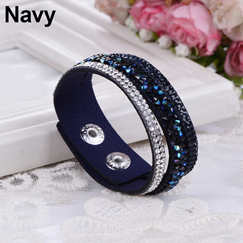 Bluelans Fashion Crystal Rhinestone Faux Leather Bracelet Wristband Women Jewelry Gift