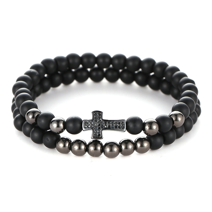 HOBBORN Trendy Natural Stone Women Men Bracelet Set Handmade Matte Black Onyx Micro inlaid Zircon Cross Charm Bracelets Pulsera in Charm Bracelets from Jewelry Accessories