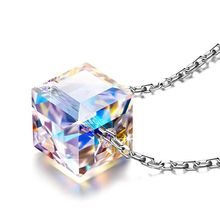 Colorful Aurora Square Crystal Pendant Necklace For Women Fashion Jewelry chic faux crystal square pendant necklace for women