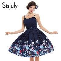 Sisjuly vintage floral dress 1950s style spring print floral female party dress summer elegant women vintage dress 2017 New