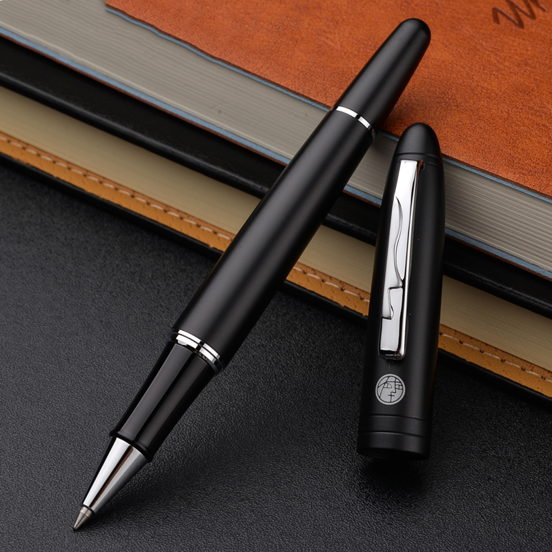 High Quality Picasso Pimio Silver Clip Matte Black Rollerball Pen 0.5mm Black Ink Sign Pens with An High-end Box Christmas Gift 2pcs pimio 917 gold silver clip rollerball pen fountain pen for lover high quality gift pens with an original gift box