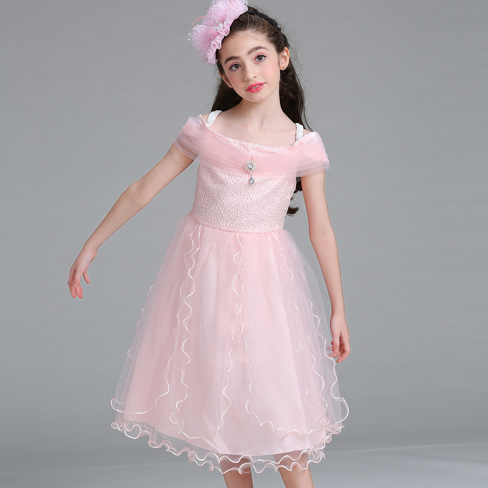 Strappy Tulle Flower Girl Evening Gowns Kids Off Shoulder ...
