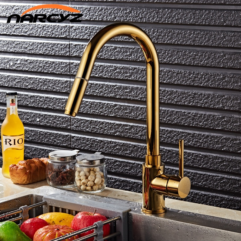 Luxury Gold Single Handle Kitchen Faucet Pull Out Sprayer 360 Rotatable Single Hole Sink Mixer Tap XT-63Luxury Gold Single Handle Kitchen Faucet Pull Out Sprayer 360 Rotatable Single Hole Sink Mixer Tap XT-63