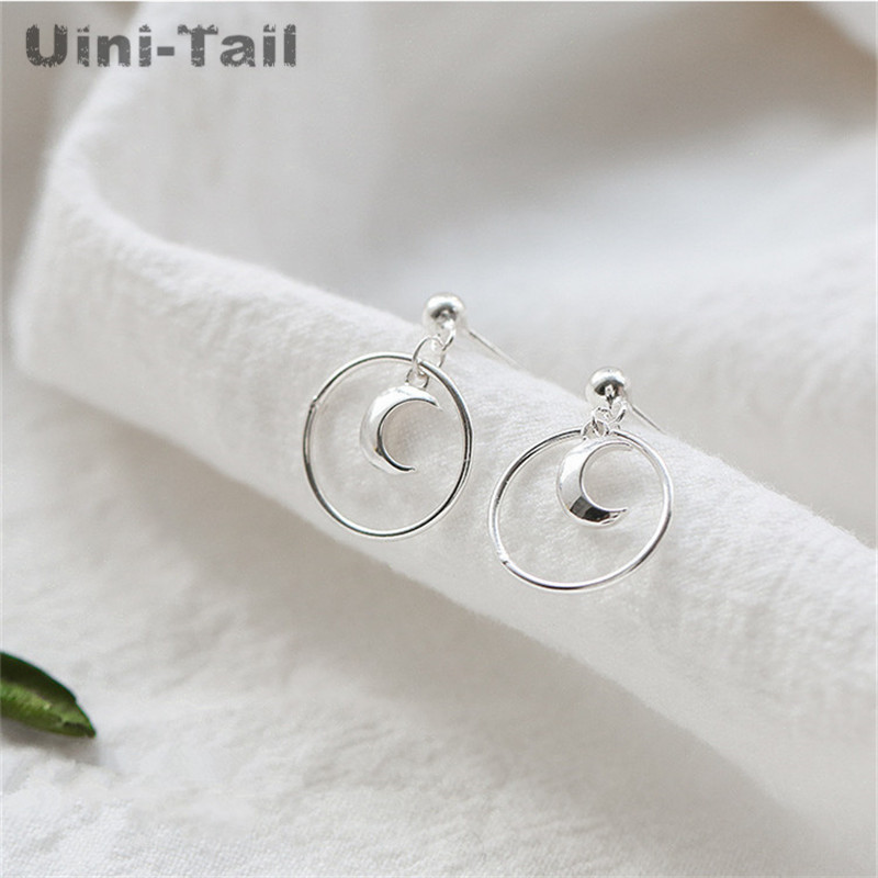 Uini-Tail hot new 925 sterling silver moon circle earrings female temperament fashion trend simple Korean girl ear jewelry GN942