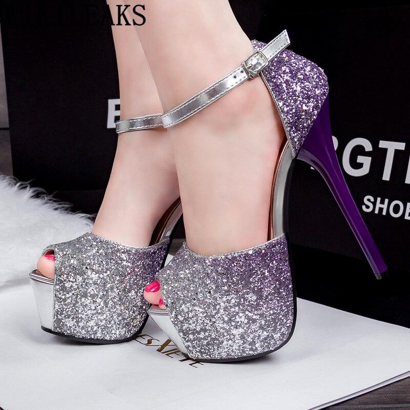 Stripper Heels Valentine Shoes Glitter Heels Wedding Shoes Bride Peep Toe Extreme High Heels Platform Party Shoes For Women Buty