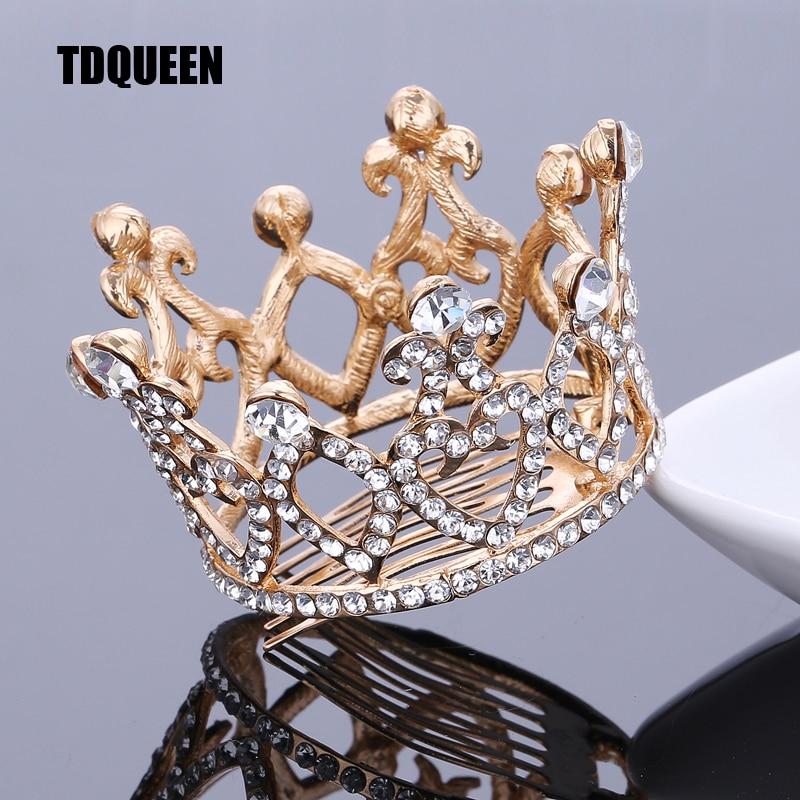 TDQUEEN Tiara Accessories Silver/Golden Plated Circle Baby Girls Unicorn Crown Full Crystal Rhinestone Hair Comb Jewelry Tiara
