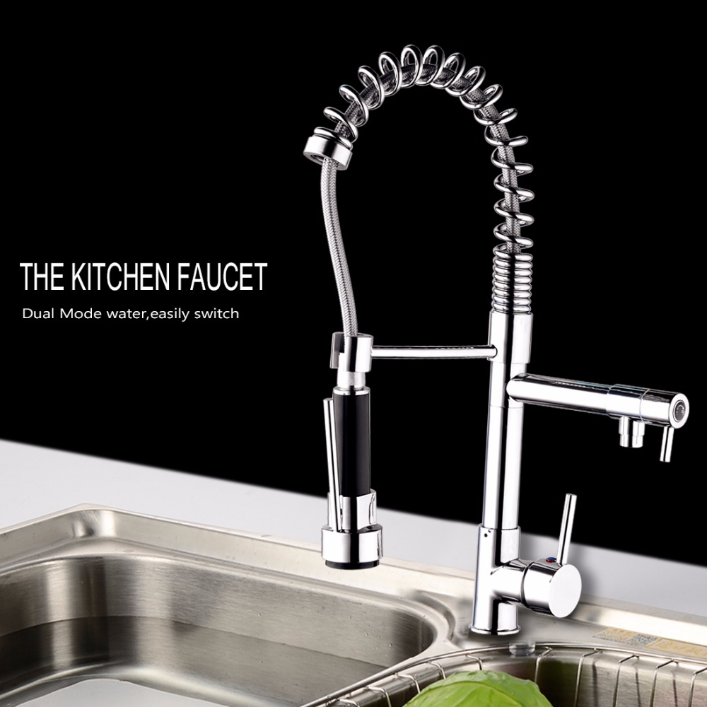 New Deck Mounted Chrome Brass Kitchen Faucet Vessel Sink Mixer Tap Single Handle Kitchen Faucet Water