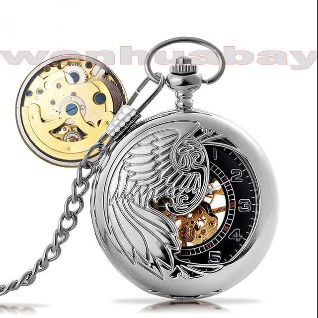 8b2c66564de9 Plata antigua de lujo Phoenix pájaro collar hueco mecánico automático reloj  de bolsillo de la vendimia