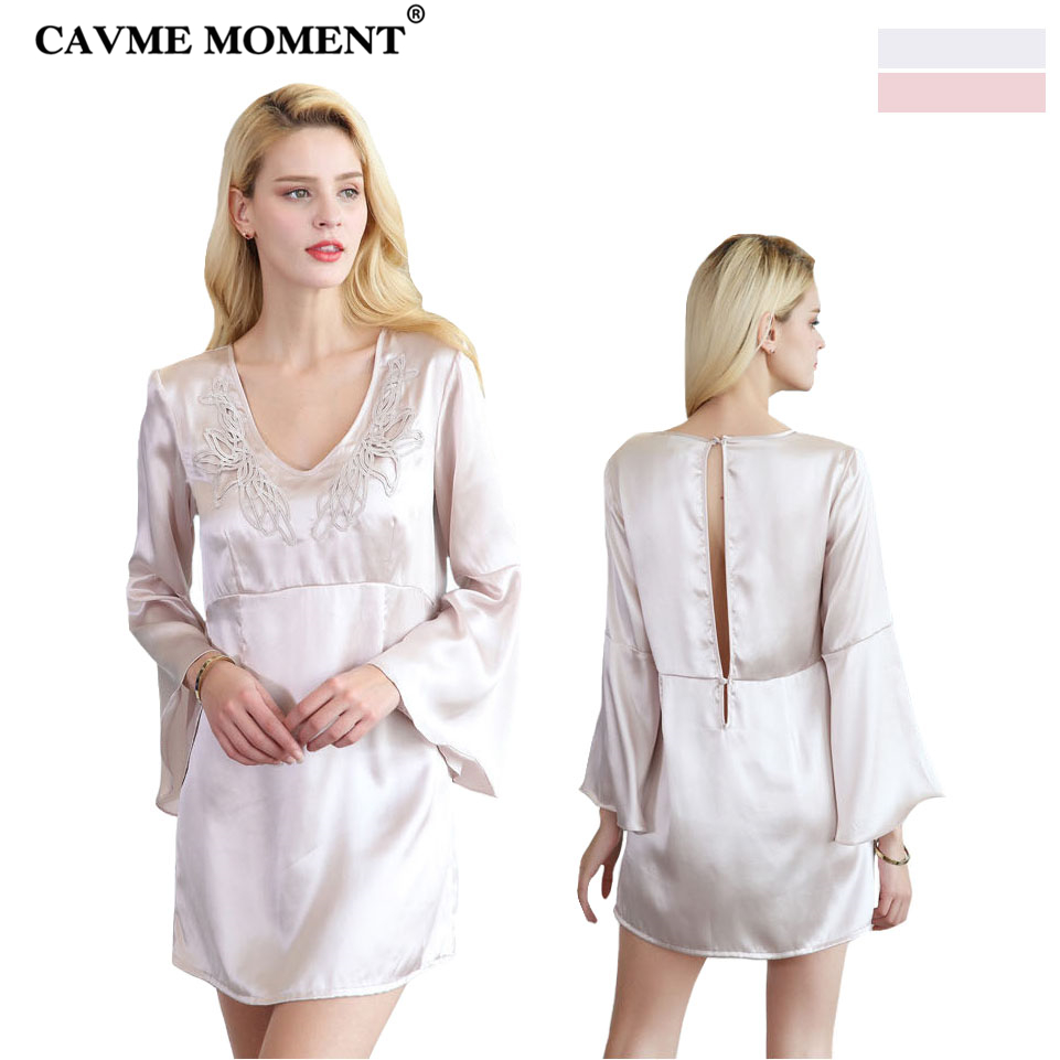 CAVME 2019 Luxury Silk Lace   Nightgown   Women's Sexy   Sleepshirt   Full Sleeve Solid Color V-Neck Sleepwear One Piece Nightdressing