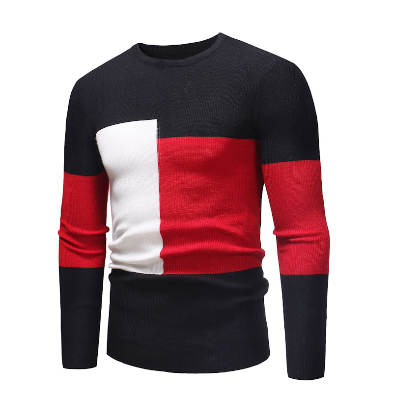 WSGYJ Pullover Sweater Men 2019 Korean Fashion Patch Color Knitwear O-neck Casual Jersey Black Grey