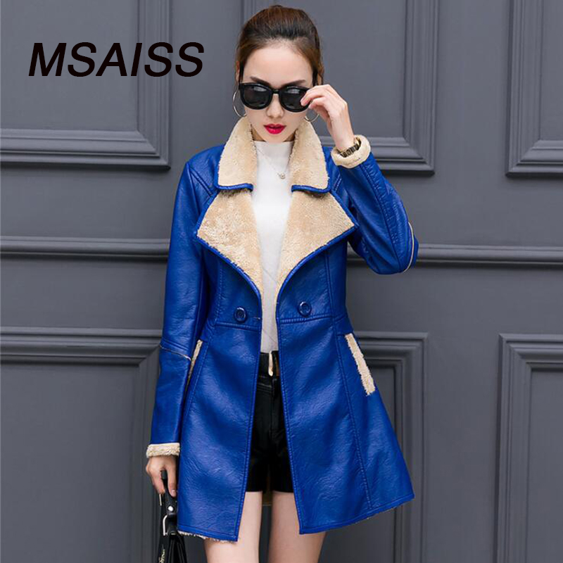 Ladies Long PU   Leather   Windbreaker High Quality Faux   Leather   Jacket Winter Warm Coat