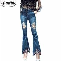 Venta caliente de Las Mujeres Ripped Jeans Pantalones Flare Moda Para Mujer Denim Agujero pantalones de Flores Bordado Pantalones Vaqueros El Envío libre