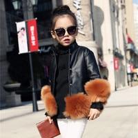 2017 New Autumn Winter Turtleneck Girls Faux Leather Fashion Jacket Good Quality Faux Fur Decoration Girls