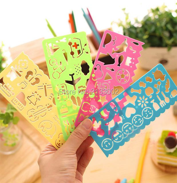4PCS Stationery Colors Ruler Oppssed Kids Drawing Template Develop Intelligence