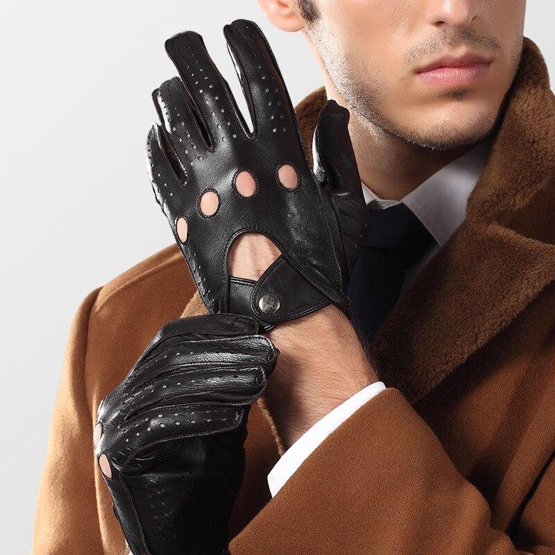 Hommes en cuir véritable gants printemps automne mince Locomotive respirant trou non doublé hommes en peau de mouton gants mâle 2520