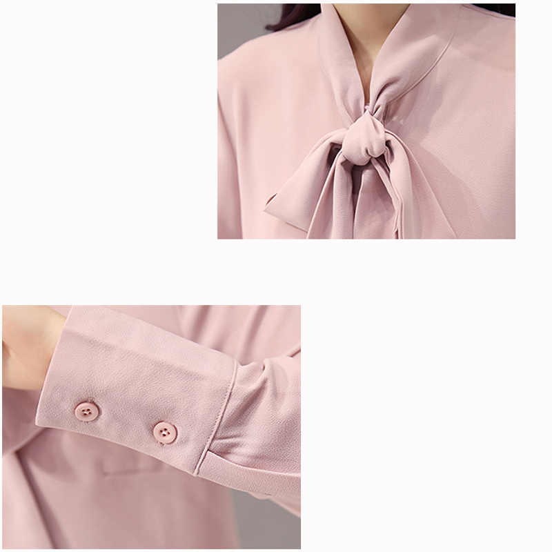 2019 Весна шифон рубашки с длинным рукавом для женщин Белый повседневное Slim fit лук блузки для малышек черный элегантный стенд-топы рубашк