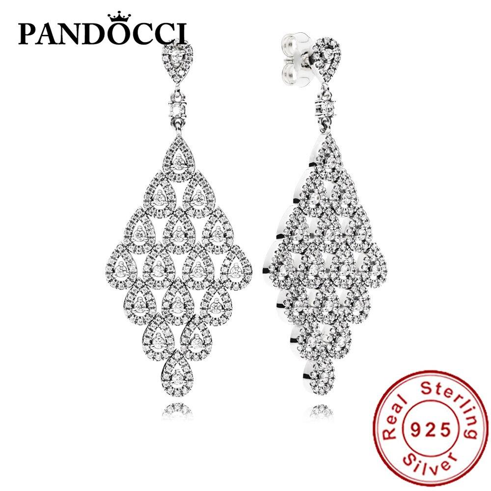 PANDOCCI 100% 925 argent Sterling 2296321CZ boucles d'oreilles en cascade Glamour édition limitée, CZ clair magnifique tendance bijoux cadeaux