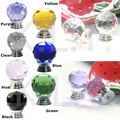 Multicolour 30mm Diamond Crystal Glass Pull Handle Cabinet Drawer Door Knob Lid Pot Cover Black Yellow Green Clear Blue Pink
