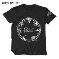 2017 Summer Fashion Tops Hot Game Of Thrones Men T Shirts Deer Wolf Dragon Lion Print
