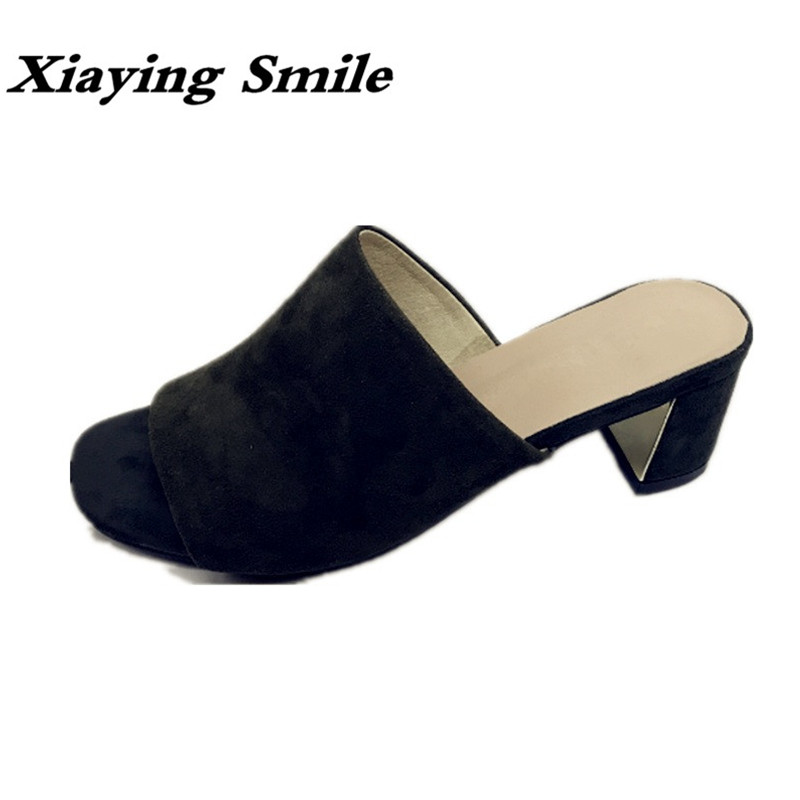 Xiaying Smile Summer Woman Sandals Shoes Women Pumps Square Heels Sexy Fashion Casual Flock Creeper Slides Slippers Women Shoes xiaying smile summer woman sandals fashion women pumps square cover heel buckle strap fashion casual concise student women shoes