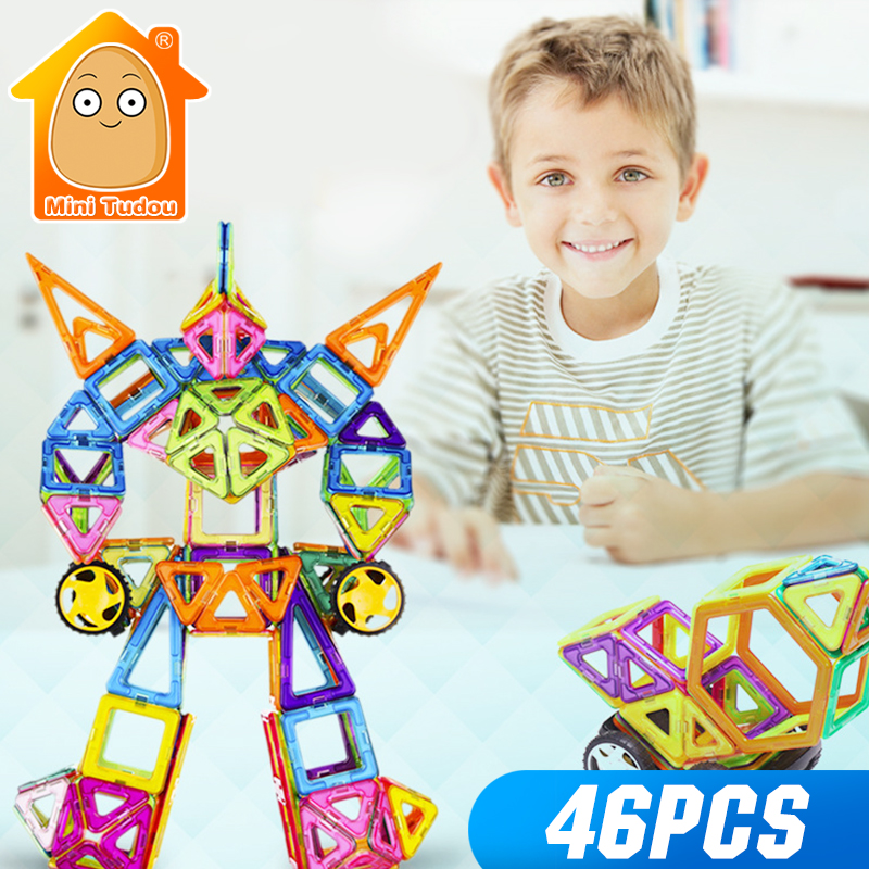 MiniTudou 46pcs Magnetic Designer Construction Set Model Building Toy Plastic Magnetic Blocks DIY Educational Toys For Children цена