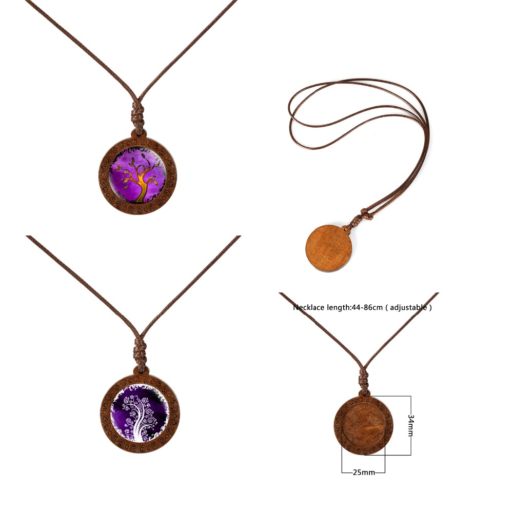 Купить с кэшбэком Family Tree of Life Dome Glass Wood Pendant Necklaces Women Necklaces Jewelry Wax Rope Chain Necklaces Gift