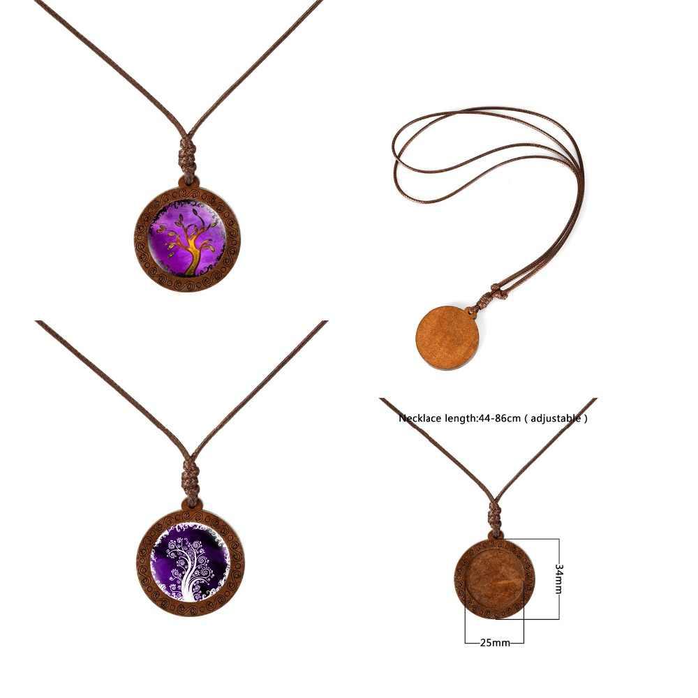 Family Tree of Life Cupola di Vetro In Legno Collane con pendente Donne Collane Dei Monili di Corda della Cera Catena Collane Regalo